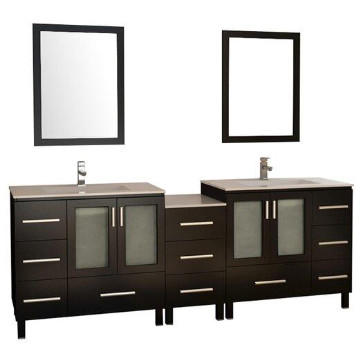 """Design Element Galatian 88"""" Double Bathroom Vanity Set with Mirror"""