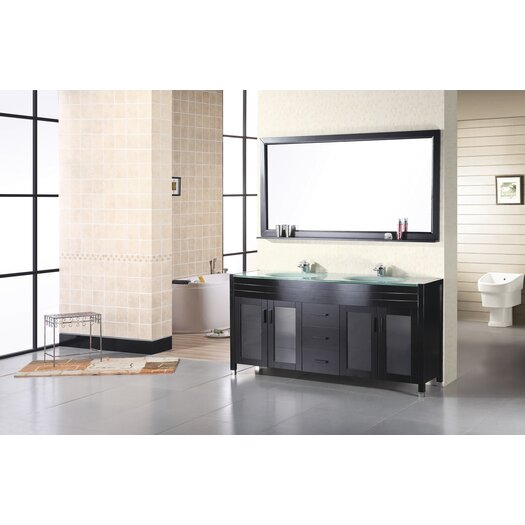 "Design Element Waterfall 61"" Double Bathroom Vanity Set with Mirror"