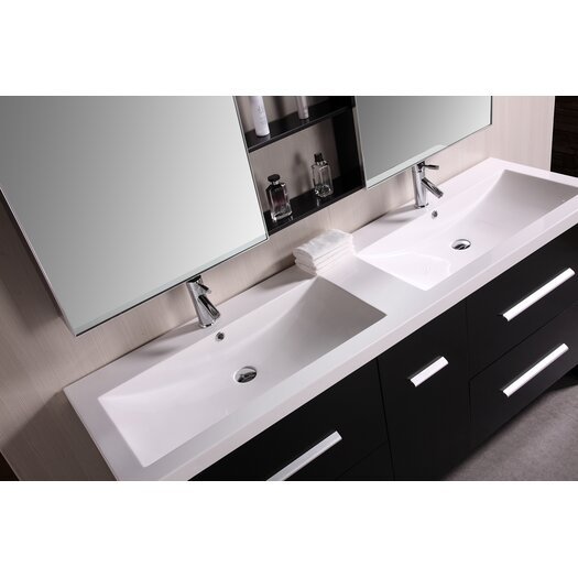 """Design Element Perfecta 72"""" Double Bathroom Vanity Set with Mirrors"""