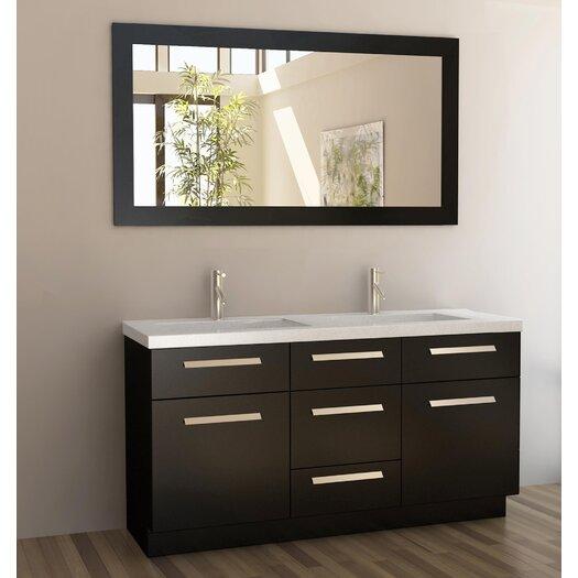 """Design Element Moscony 60"""" Double Bathroom Vanity Set with Mirror"""