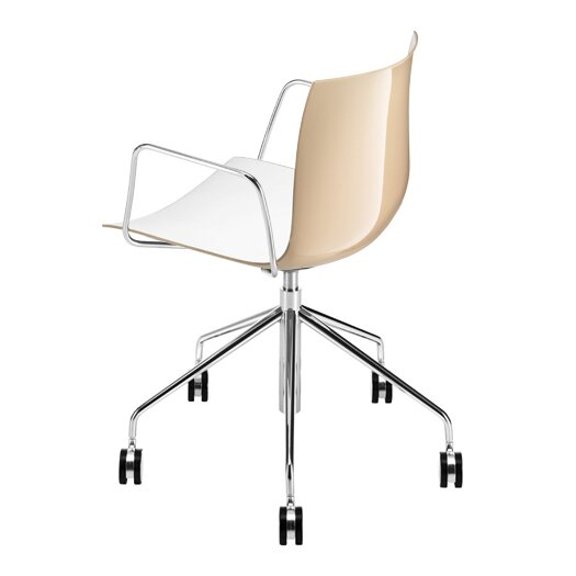 Arper Catifa 53 Polypropylene Two-Tone 5-Way Task Armchair with Gas Lift on Castors