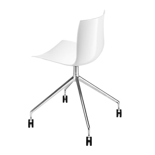Arper Catifa 46 Polypropylene Chair with 4-Way Swivel Trestle Base on Castors