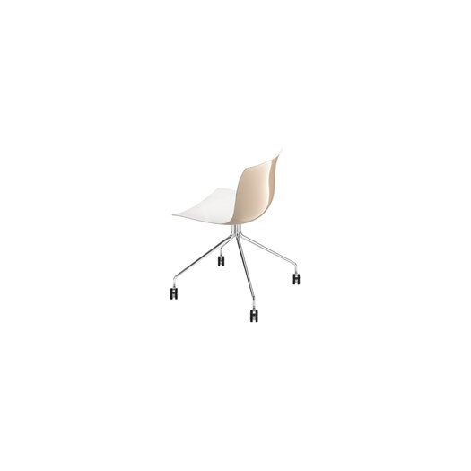 Arper Catifa 53 Polypropylene Two-Tone Chair with 4-Way Trestle Base on Castors