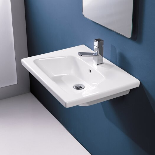 Bissonnet veo porcelain bathroom sink with overflow for Ceramic bathroom bin