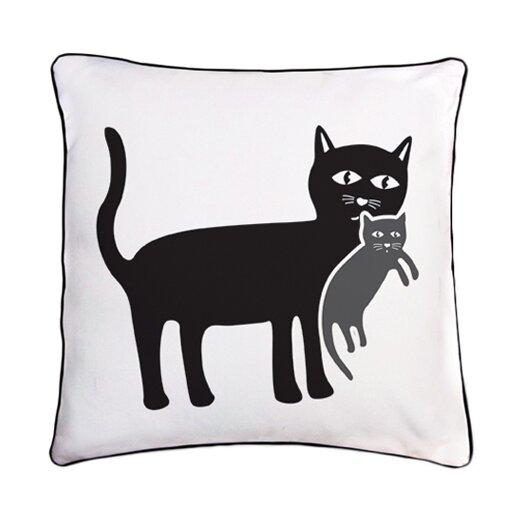 Reversible Animal Pillow : Naked Decor Animal Instinct Cat and Kitten Reversible Cotton Throw Pillow AllModern