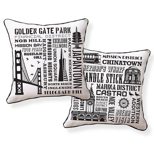 Naked Decor San Francisco Neighborhoods Cotton Throw Pillow