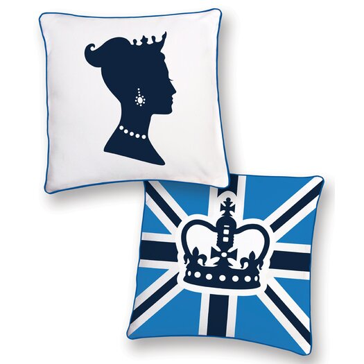 Naked Decor British Invasion Princess Reversible Cotton Throw Pillow