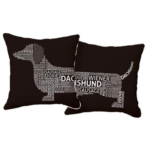 Naked Decor Dachshund Typography Cotton Throw Pillow