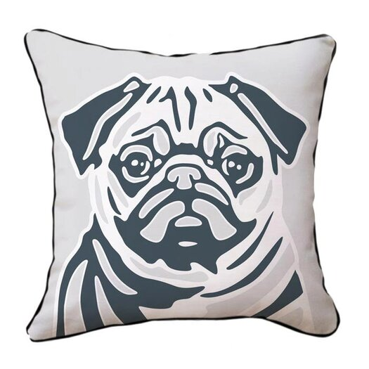 Naked Decor Pug Reversible Cotton Throw Pillow