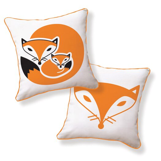 Naked Decor Fox and Her Baby Double Sided Cotton Throw Pillow