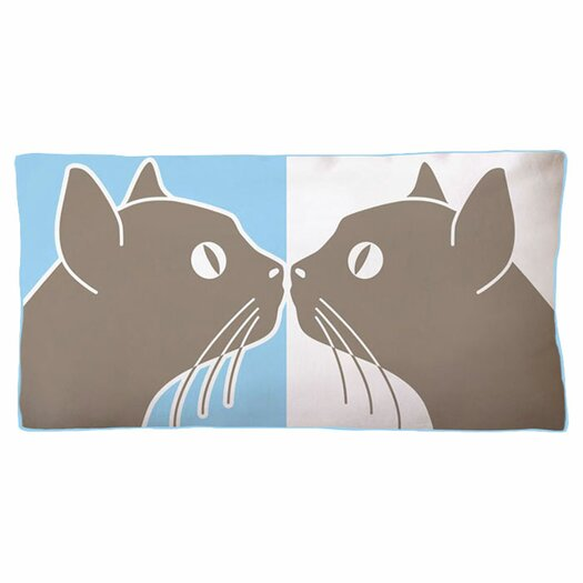 Naked Decor Kissing Cats Double Sided Cotton Boudoir/Breakfast Pillow