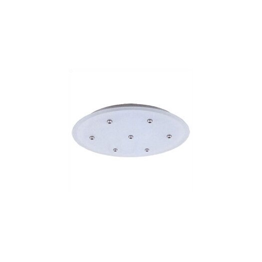 LBL Lighting Fusion Jack Seven Port Round LED Canopy in Satin Nickel