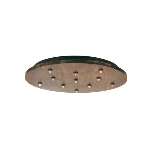 LBL Lighting Fusion Jack Eleven Port Wood Round LED Canopy in Bronze
