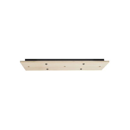 LBL Lighting Fusion Jack Seven Port Wood Rectangle LED Canopy in Satin Nickel