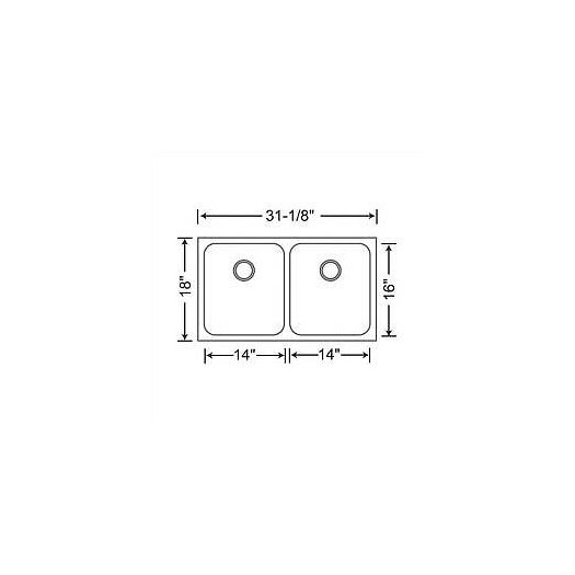 "Blanco Spex 31.13"" x 18"" Plus Equal Double Bowl Undermount Kitchen Sink"