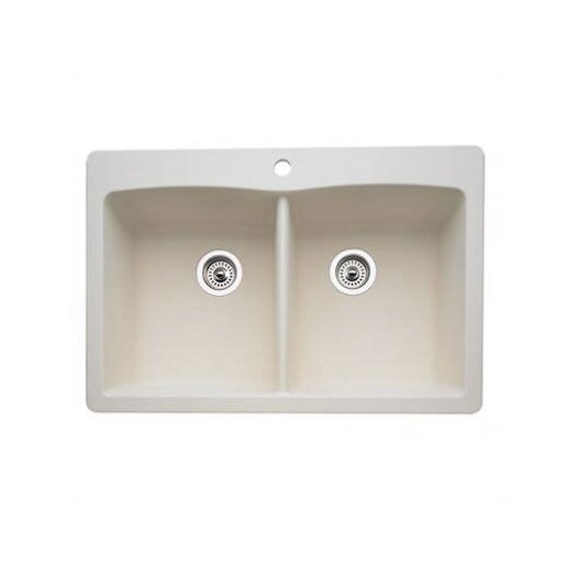 "Blanco Diamond 33"" x 22"" Equal Double Bowl Drop-In Kitchen Sink"