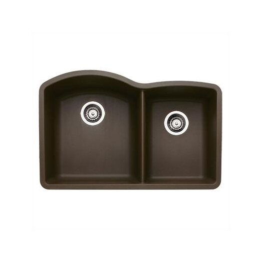 "Blanco Diamond 32"" x 20.84"" Double Bowl Kitchen Sink in Cafe Brown"