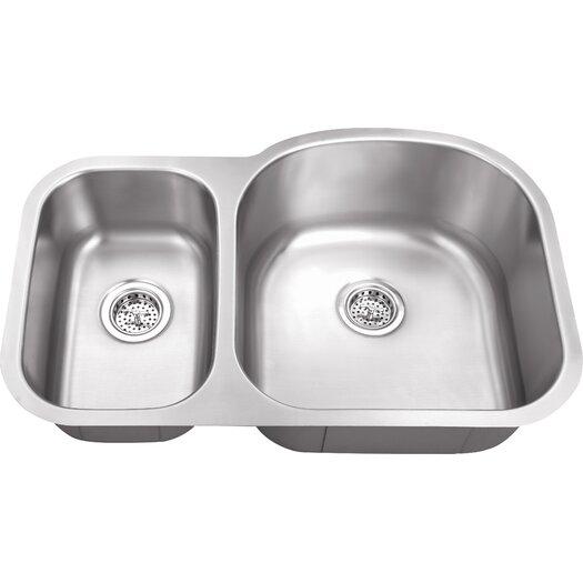 """Schon 30"""" x 19"""" Double Bowl 18 Gauge Kitchen Sink"""