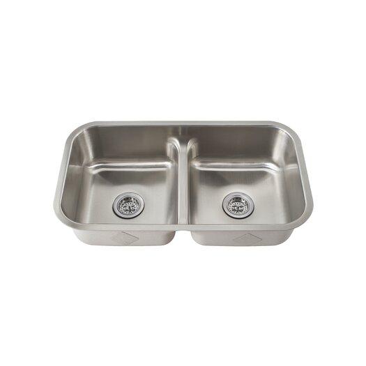 "Schon 32.25"" x 18.875"" Double Bowl Kitchen Sink"