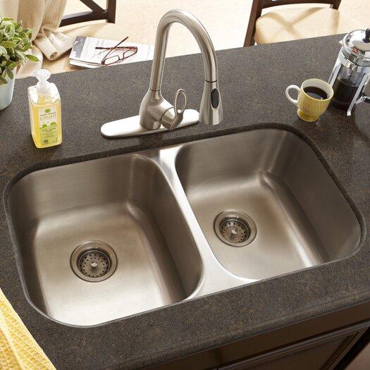 """Schon 32.5"""" x 18.5"""" Double Bowl 16 Gauge Kitchen Sink"""