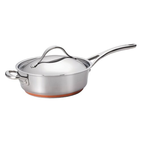 Anolon Nouvelle Copper Stainless Steel 3-qt. Saute Pan with Lid