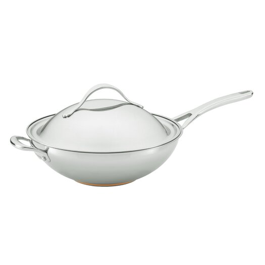 Anolon Nouvelle Copper Stainless Steel Covered Stir Frying Pan with Helper Handle