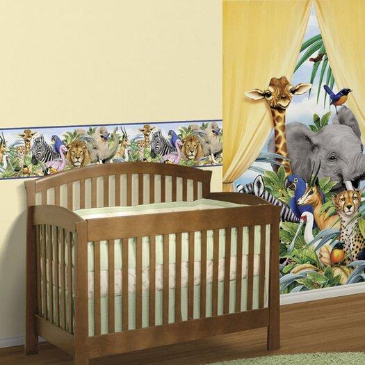 """4 Walls Jungle 15' x 9"""" Wildlife Border Wallpaper"""
