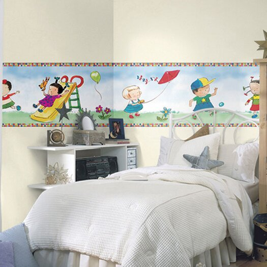"4 Walls Child's Play Mural 18' x 18"" Figural Border Wallpaper"
