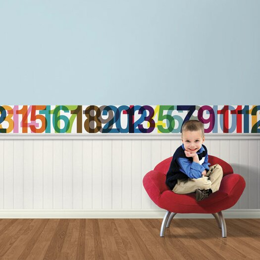 "4 Walls Typeset 15' x 9"" Numbers Border Wallpaper"