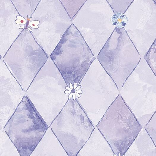 "4 Walls Whimsical Children's Vol. 1 20.5' x 33"" Groovy Argyle Floral & Botanical Wallpaper"