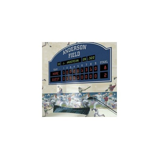 4 walls unique peel and stick baseball scoreboard wall for Baseball scoreboard wall mural