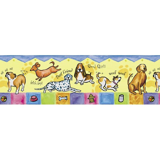 """4 Walls Panoramic Mural Style Bow Wow 12' x 6"""" Dogs Border Wallpaper"""