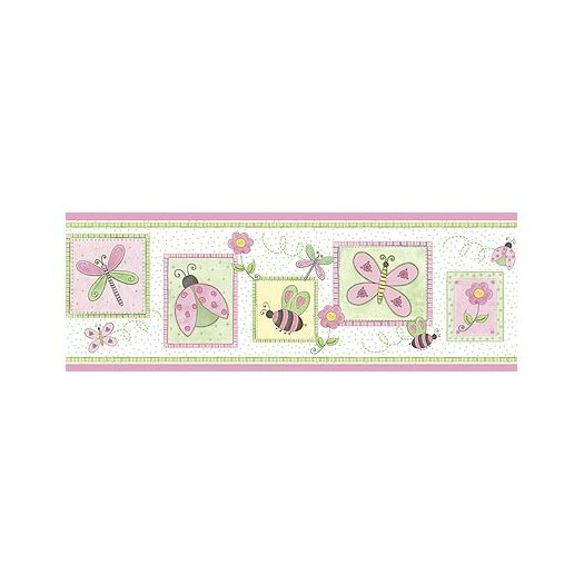 """4 Walls Whimisical Springtime 15' x 9"""" Floral and Botanical Border Wallpaper"""