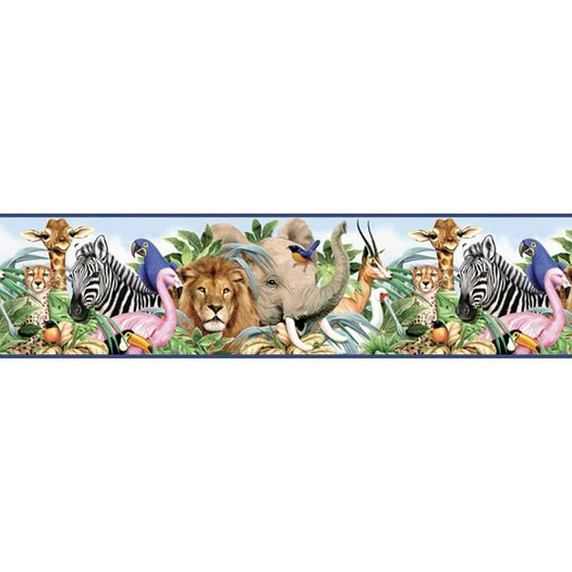 "4 Walls Jungle Animals Free Style 12' x 6"" Wildlife Border Wallpaper"
