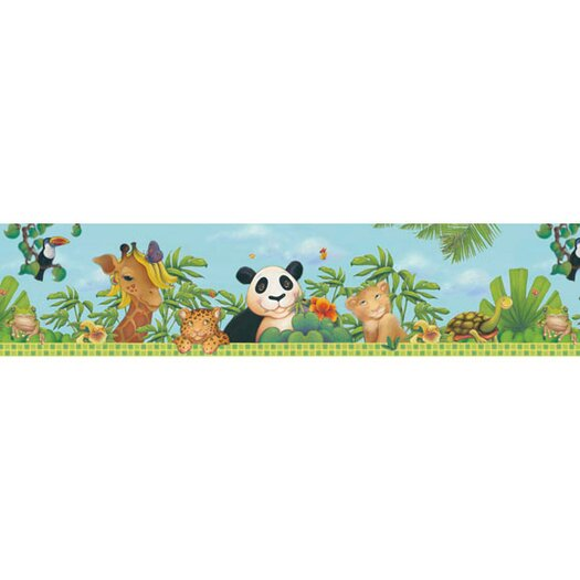 "4 Walls Jungle Free Style 12' x 6"" Wildlife Border Wallpaper"