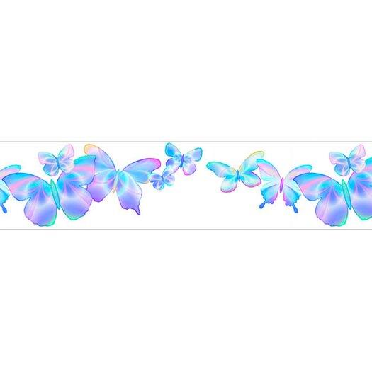 "4 Walls Fluttering Free Style 12' x 6"" Butterflies Border Wallpaper"
