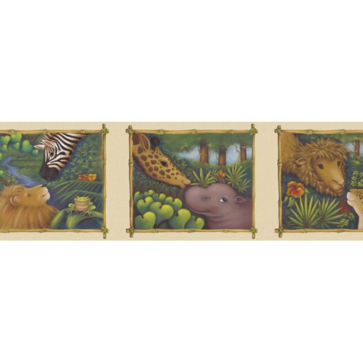 "4 Walls Jungle 15' x 9"" Wildlife Border Wallpaper"