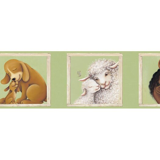 """4 Walls Mother and Child 15' x 9"""" Wildlife Border Wallpaper"""