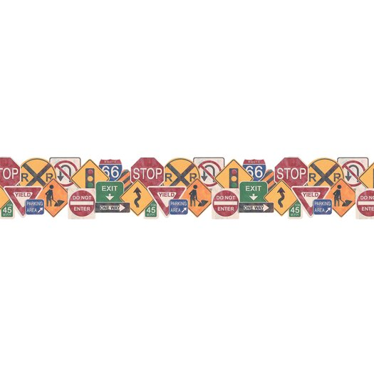 "4 Walls Whimsical Children's Vol. 1 Road Sign 15' x 9"" Border Wallpaper"