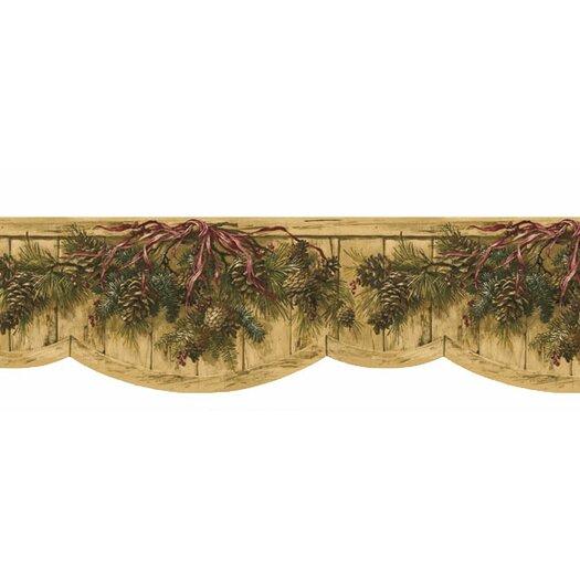 "4 Walls Lodge Décor 15' x 9.5"" Pinecone Swag Die-Cut Floral Botanical Border Wallpaper"