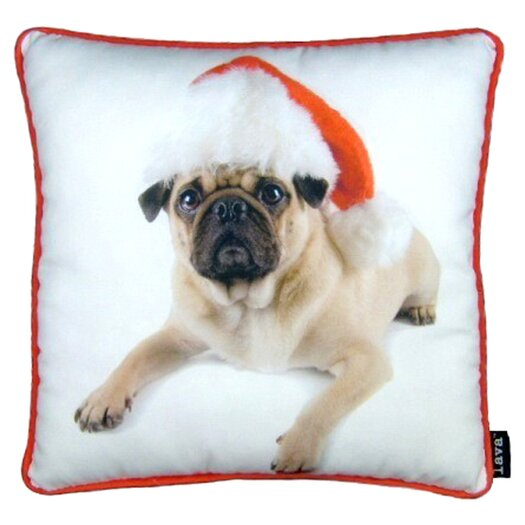 lava Holiday Pug with Hat Throw Pillow