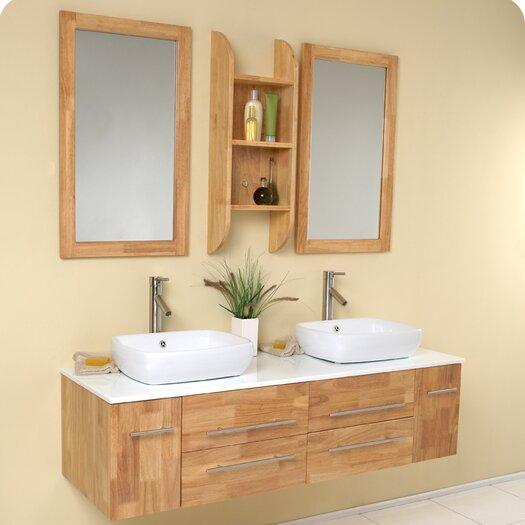 "Fresca Stella 59"" Double Bellezza Modern Vessel Bathroom Vanity Set with Mirror"