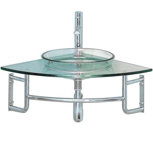 "Fresca Vetro 24"" Single Ordinato Modern Corner Mount Bathroom Vanity Set"
