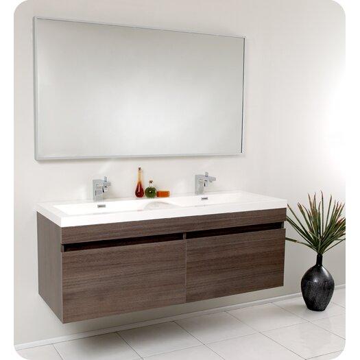 "Fresca Senza 57"" Double Largo Modern Bathroom Vanity Set with Mirror"
