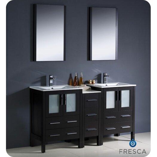 "Fresca Torino 60"" Double Modern Sink Bathroom Vanity Set with Mirror"