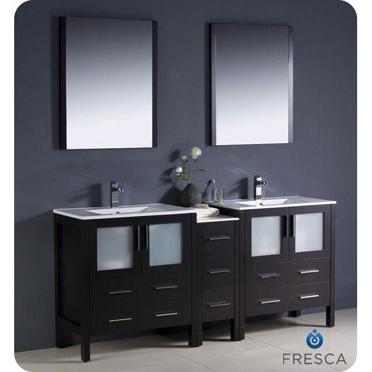 "Fresca Torino 72"" Double Modern Sink Bathroom Vanity Set with Mirror"