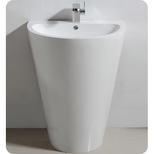 "Fresca Parma 23"" Single Pedestal Modern Bathroom Vanity Set with Mirror"