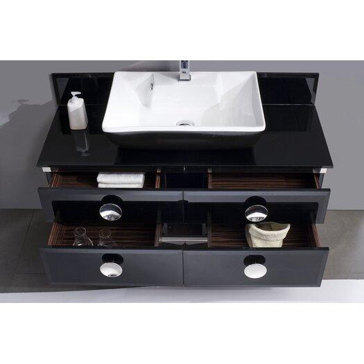"Fresca Moselle 47"" Single Modern Glass Bathroom Vanity Set with Mirror"