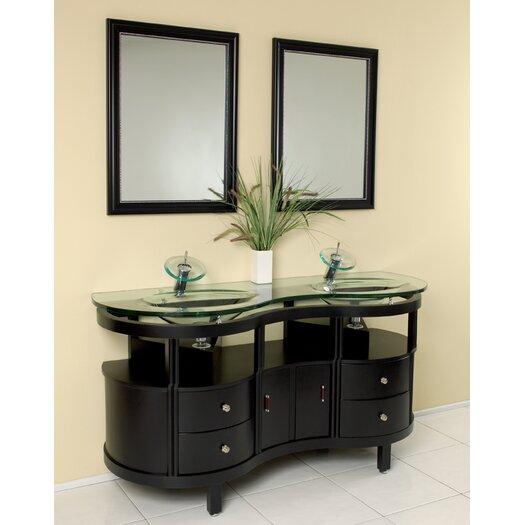 "Fresca Classico 63"" Double Unico Modern Bathroom Vanity Set with Mirror"