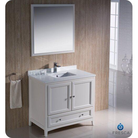 "Fresca Oxford 36"" Single Traditional Bathroom Vanity Set with Mirror"